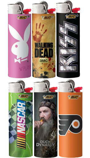 Playboy, The Walking Dead, and Nascar branded BIC lighters licensed by Broad Street Licensing Group